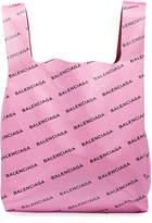 Balenciaga Men's Allover Logo-Print Leather Grocery Tote Bag