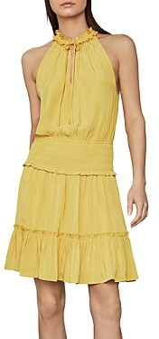 BCBGMAXAZRIA Smocked Tie-Neck Dress
