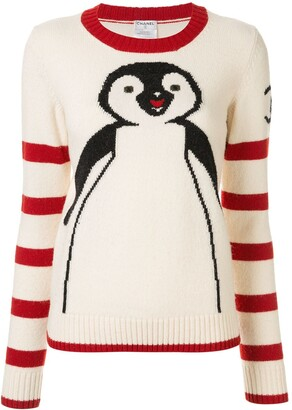 Chanel Pre Owned Penguin Intarsia Jumper