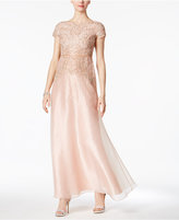 Adrianna Papell Cap-Sleeve Beaded Organza Gown
