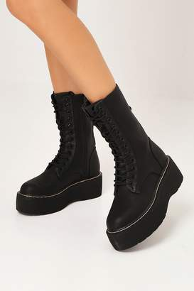 I SAW IT FIRST Black Chunky Flatform Lace Up Ankle Boots