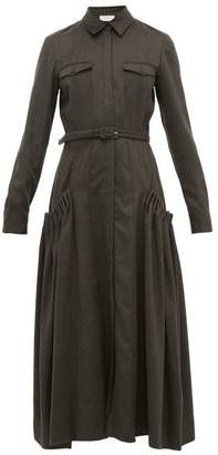 Gabriela Hearst Woodward Ruched-pocket Cashmere-twill Shirtdress - Womens - Khaki