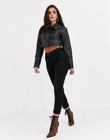 Asos Design DESIGN leather look statement belt jacket in black