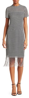 Akris Punto Monochrome Fringe Hem Midi Dress