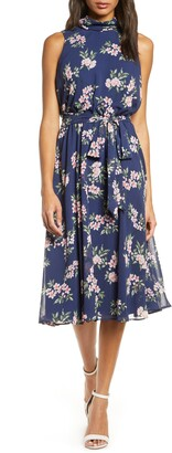Harper Rose Floral Sleeveless Chiffon Midi Dress