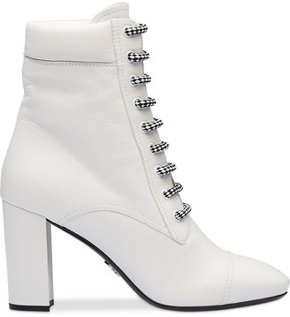 Prada Lace-Up Heeled Boots
