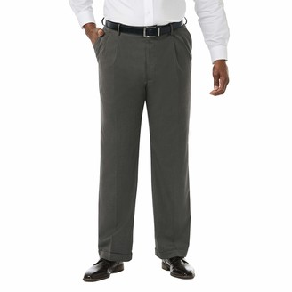 Haggar Men's Big and Tall Premium Stretch Solid Gabardine Expandable Waist Pleat Front Dress Pant