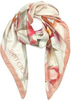 Jimmy Choo Shoe and Floral Printed Silk Square Scarf
