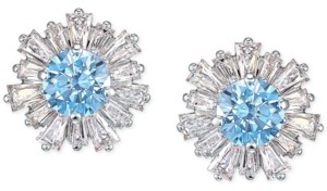 Swarovski Silver-Tone Crystal Cluster Stud Earrings