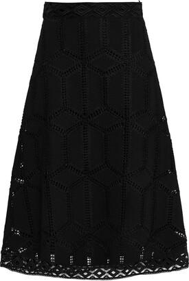 BA&SH Rosario Macrame Lace Midi Skirt