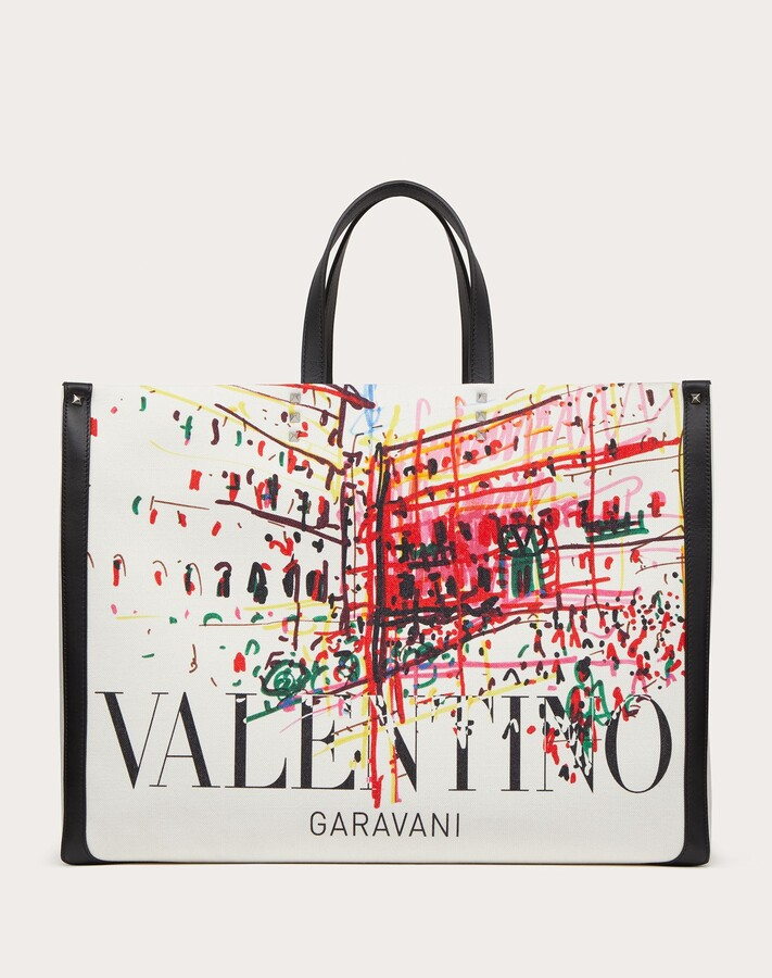 Thumbnail for your product : Valentino Garavani Uomo Large Roman Sketches Canvas Tote Bag Man Ivory/black 70% Cotton 30% Linen OneSize