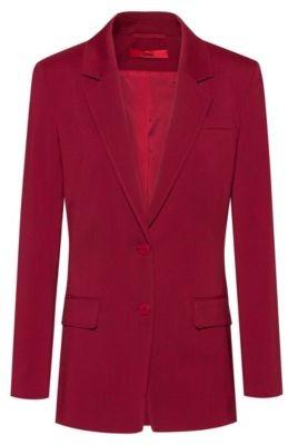 HUGO BOSS Regular Fit Jacket In Stretch Wool With Tonal Undercollar - Dark Red