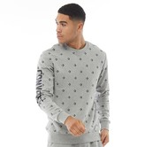 Converse Mens Star Chevron All Over Print Graphic Fleece Crew Sweat Grey Heather