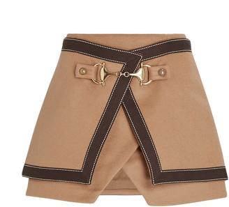 Balmain Layered Wool Wrap Mini Skirt