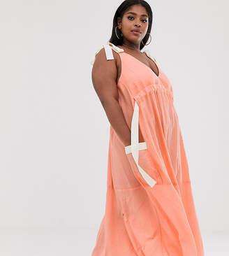 Asos DESIGN Curve trapeze drawstring maxi dress