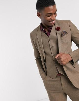 ASOS DESIGN wedding slim wool mix suit jacket in camel herringbone
