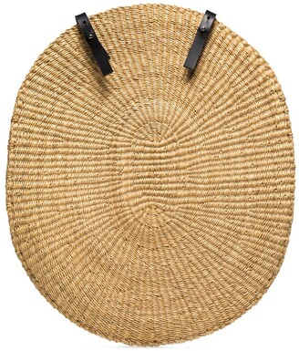 Inès Bressand Over straw-woven backpack