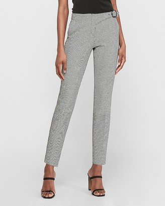Express Mid Rise Houndstooth Columnist Side Buckle Ankle Pant
