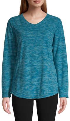 ST. JOHN'S BAY Sjb Active Active Polar V Neck Fleece Womens V Neck Long Sleeve Sweatshirt
