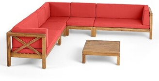 Breakwater Bay Sklar Outdoor 2 Piece Deep Seating Group with Cushions Frame Color / Cushion Color: Teak Frame / Red Cushion