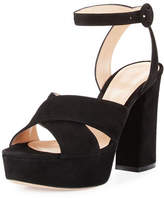 Gianvito Rossi Suede Platform Ankle-Strap Sandal