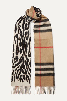 Burberry Fringed Printed Cashmere Scarf - Leopard print