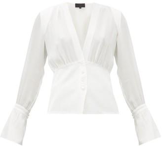 Nili Lotan Mariana Poet-sleeve V-neck Silk-crepe Blouse - Womens - White