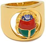 Maria Francesca Pepe Gold Plated Multicolour Enamelled Scarab Charm Index Ring - Size N