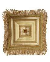 """Sweet Dreams Mitered-Stripe Pillow with Gimp Accents & Bullion Fringe, 18""""Sq."""