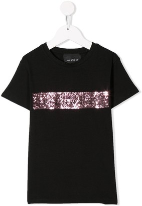 John Richmond Junior sequin stripe T-shirt
