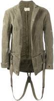 Greg Lauren - suspender effect blazer - men - Silk/Cotton/Linen/Flax - 2