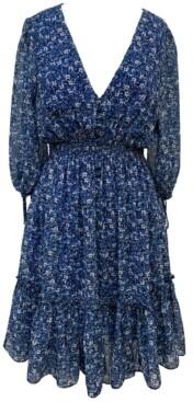 Taylor Petite Floral-Print Peasant Dress
