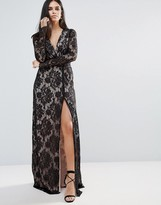 The Jetset Diaries Pizzo Wrap Lace Insert Maxi Dress