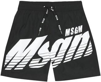 Msgm Kids Logo swim trunks
