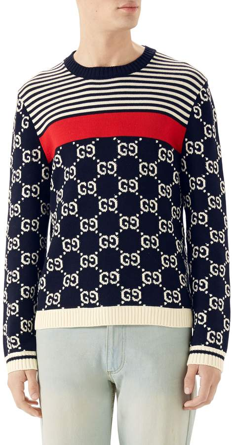 Gucci Stripe & Double-G Crewneck Sweater