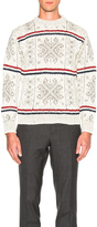 Thom Browne Norwegian Fair Isle Crew Neck Sweater