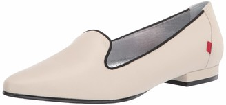 Marc Joseph New York Women's Leather Luxury Flat with Smoking Slipper Detail Loafer