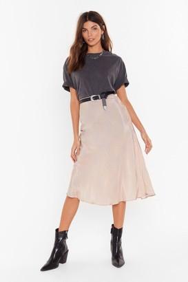 Nasty Gal Womens It's Worth a Spot Satin Midi Skirt - Beige - XL, Beige