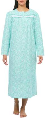 Jasmine Rose Floral Long-Sleeve Cotton Nightgown