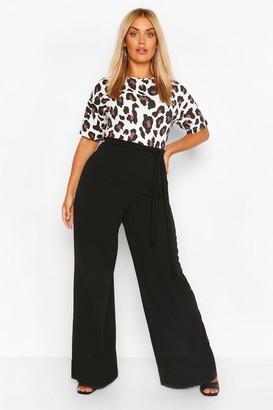 boohoo Plus Leopard Contrast Belted Jumpsuit