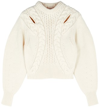 Alexander McQueen Ivory Cable-knit Cropped Wool-blend Jumper