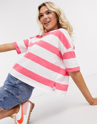 ASOS DESIGN boxy cropped t-shirt with chunky stripe in bright pink and white