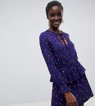 Reclaimed Vintage inspired ruffle neck dress in polka dot-Multi