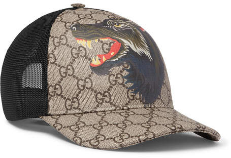 Gucci Printed Coated-Canvas and Mesh Baseball Cap - Brown