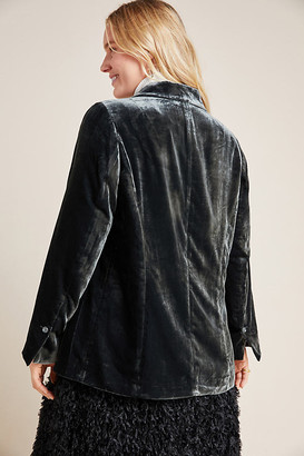 Anthropologie Alessia Velvet Plus Blazer By in Grey Size 1 X