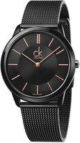 Calvin Klein minimal Men's Swiss Black PVD Stainless Steel Mesh Bracelet Watch 40mm K3M21421