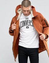 Converse Hooded Fishtail Parka Coat In Brown 10001185-a05