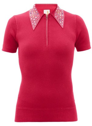 JoosTricot Crystal-collar Cotton-blend Peachskin Polo Shirt - Pink