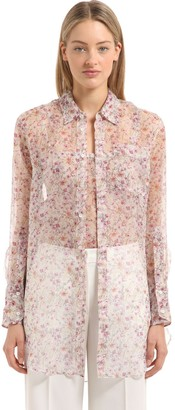 Calvin Klein Collection Floral Printed Silk Shirt