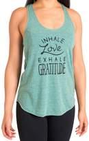 "Inner Fire ""Inhale Love Exhale Gratitude"" Yoga Racerback Tank Top, Green"